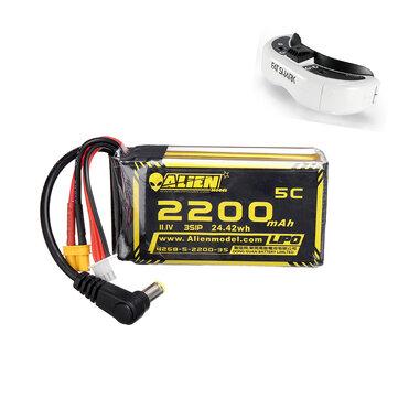 Купон для Alien Model 11.1V 2200mAh 3S 5C XT60 Plug DC Connector Lipo Battery for Fatshark HDO2 DJI Goggles
