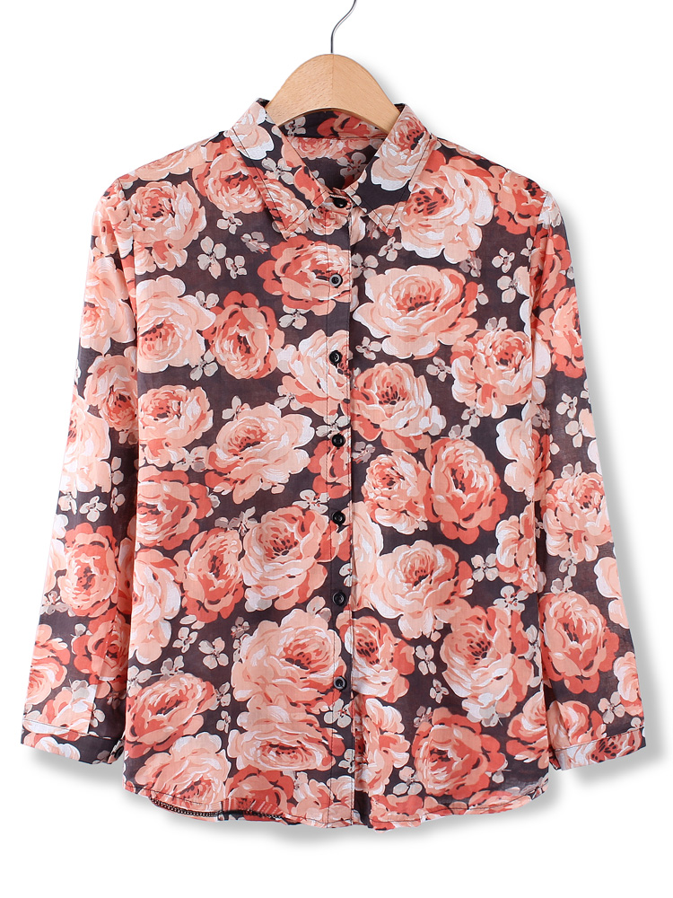 Women Casual Vintage Floral Printed Blouse Long Sleeve Shirt