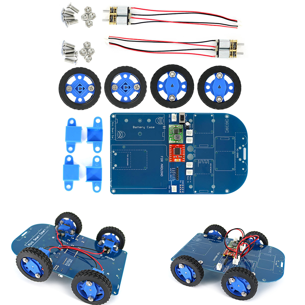 4WD bluetooth Controlled Smart Robot Car Kit with N20 Gear Motor for