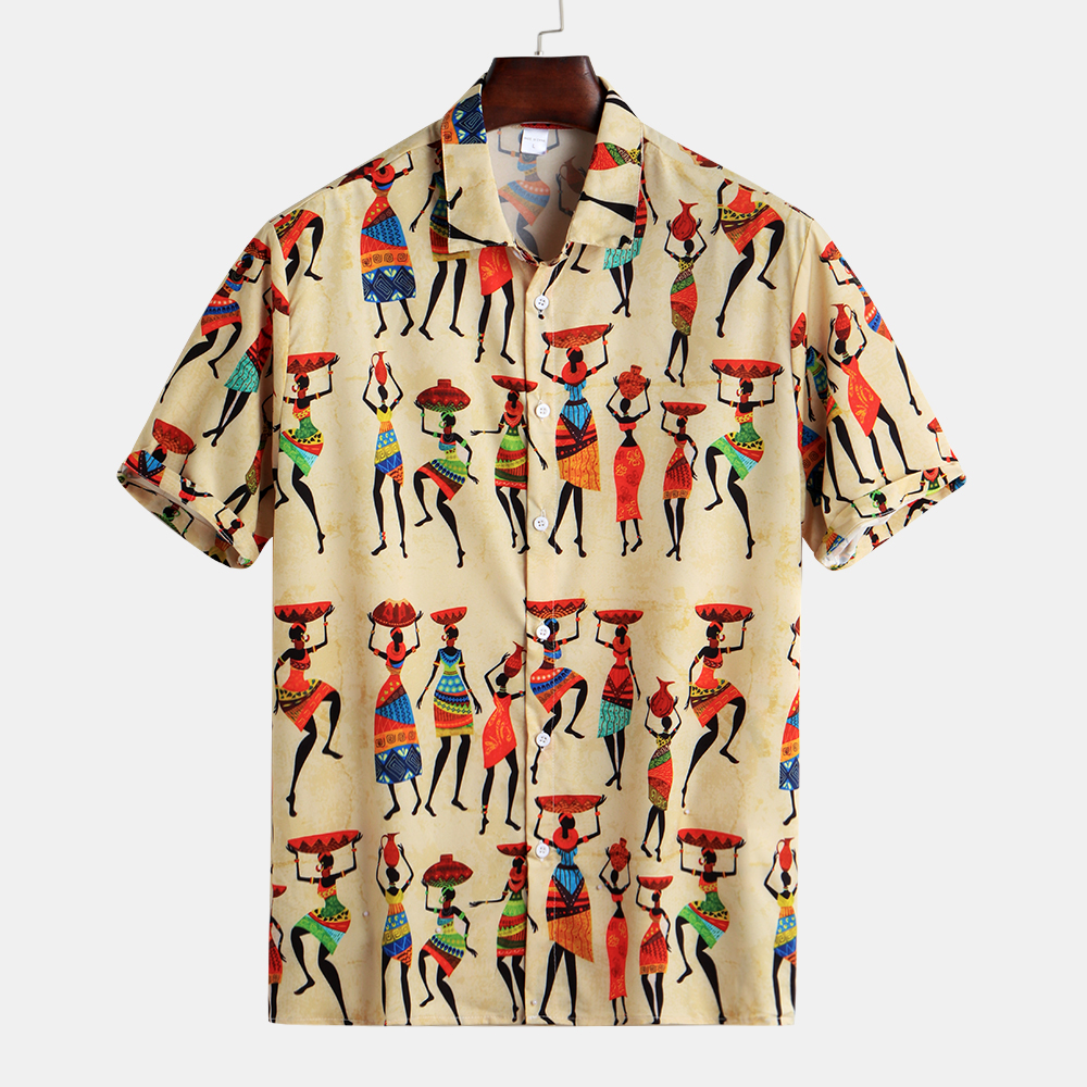 Mens Summer Characters Printed Buttons Fly Breathable C