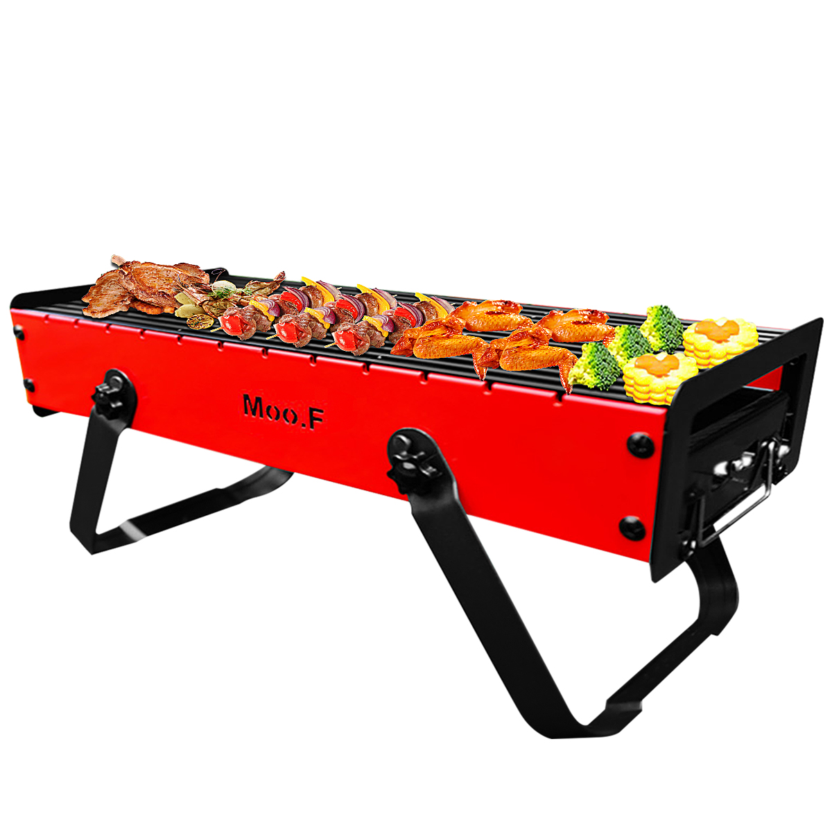 Outdoor Foldable Portable Grill Large Capacity Hand-held Type Strong Bearing Force Thickened Camping BBQ Grill