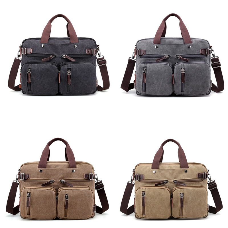 4 Styles Canvas Convertible Backpack Briefcase Mu