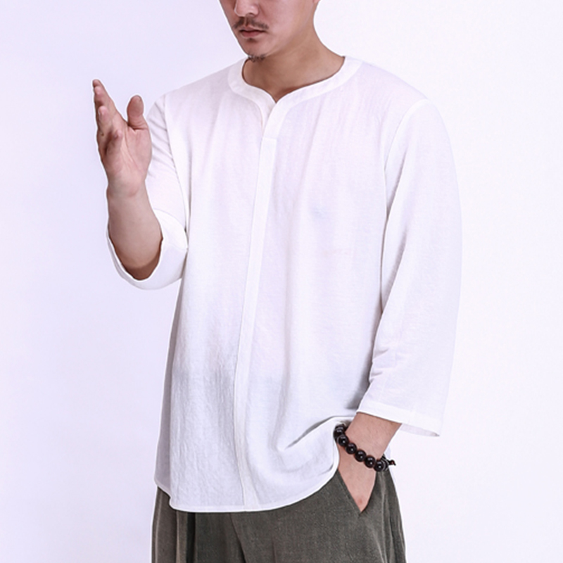 Mens Vintage Chinese Style Cotton Long Sleeve Casual Lo
