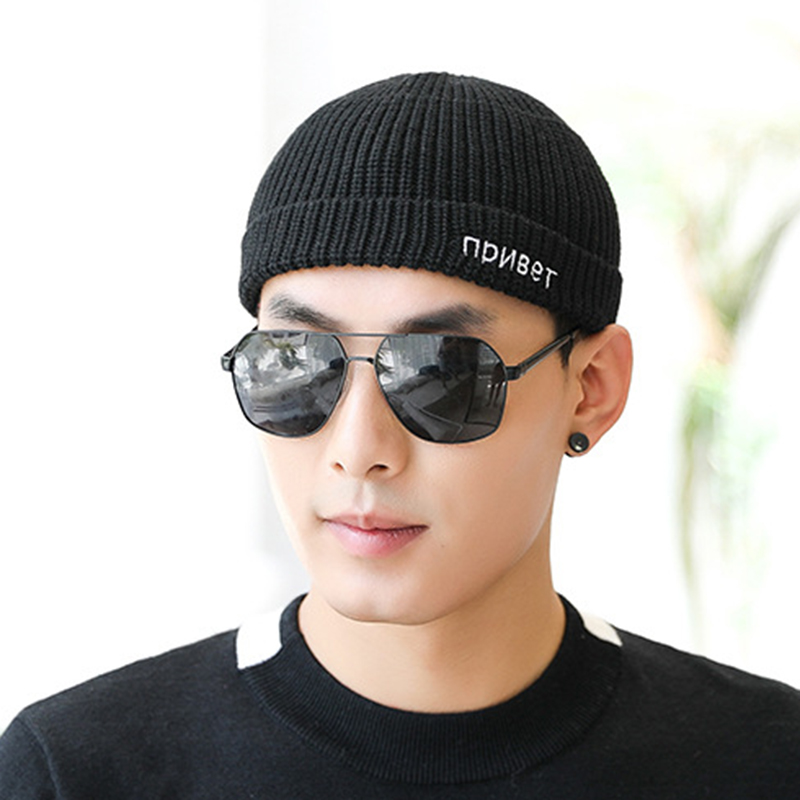 Men Women Letter Embroidery Knit French Brimless Hats R