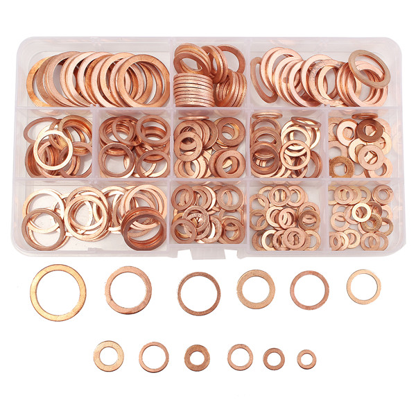 280PCs Solid Copper Washers Sump Plug Assorted Washer Kits 12 Sizes