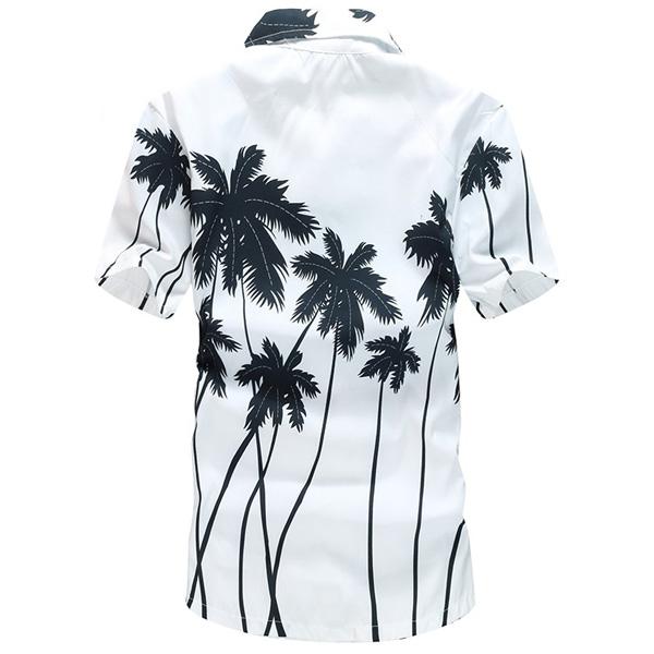 Mens Coconut Tree Printing Polyester Hawaiian Short Sleeve Quick-dry Casual Beach Shirt
