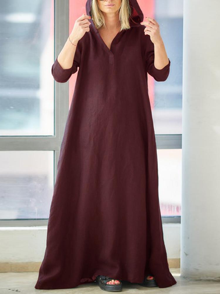 Women Vintage V-Neck Side Pockets Split Cotton Maxi Dre