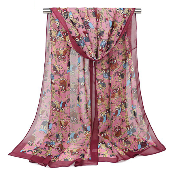 160CM Women Cute Owl Print Scarfs Chiffon Autumn Outdoor Shawl Scarves