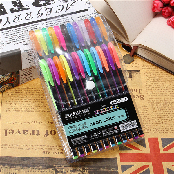 24 Pcs Color Gel Pen Set Adult Coloring Book Ink Pen Dr