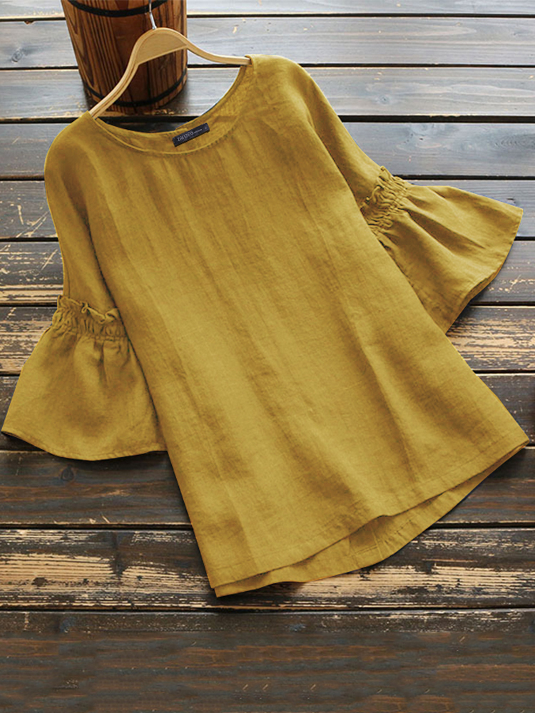 Women Solid Cotton High Low Hem Casual Loose Blouse