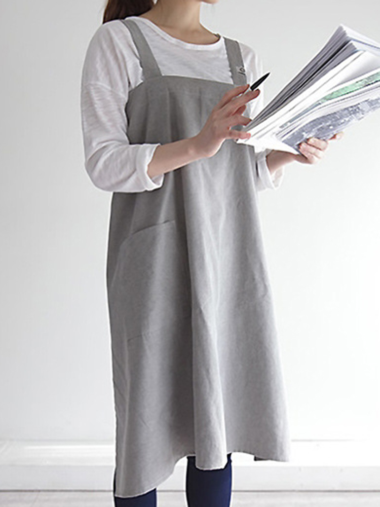 Vintage Japanese Cotton Linen Kitchen Aprons Dress with
