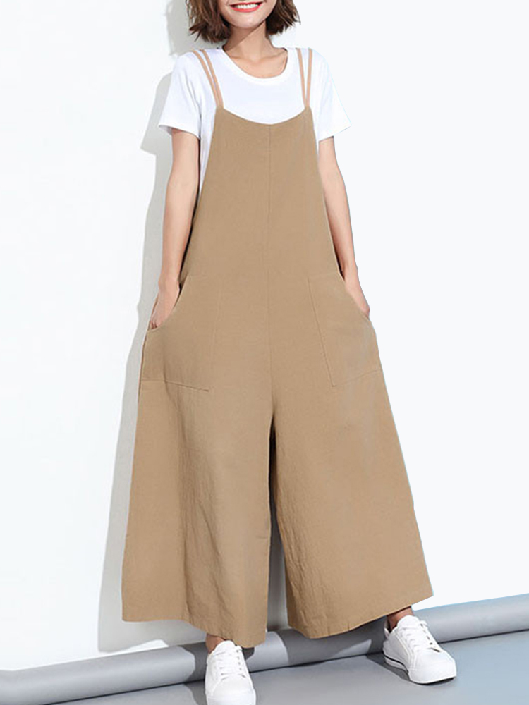 Loose Casual Women Pure Color Wide-Leg Overalls With Po