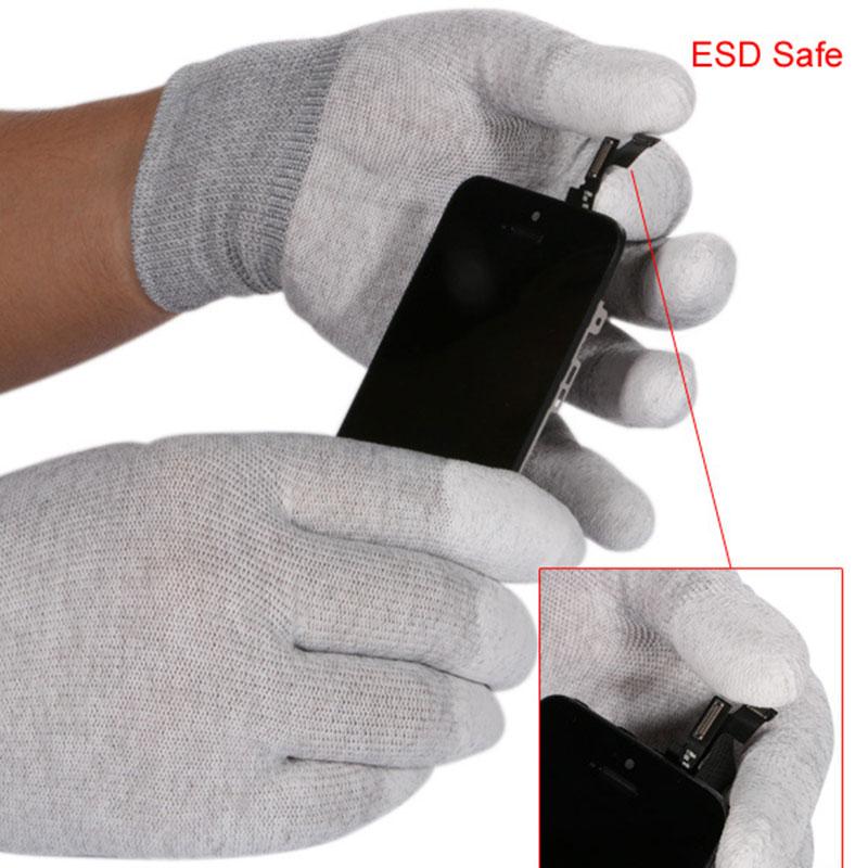 1 Pair ESD Safe Gloves Anti-static Anti Skid PU Finger