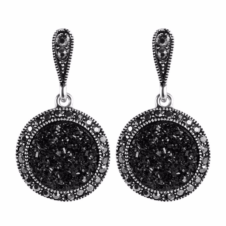 Vintage Ear Drop Earring Black Crystal Round Geometric