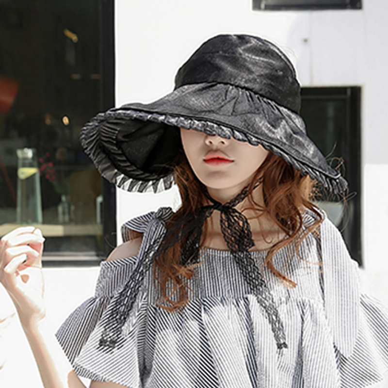 Women Summer Outdoor Travel Wide Brim Sunshade Hat Lace Foldable Hat