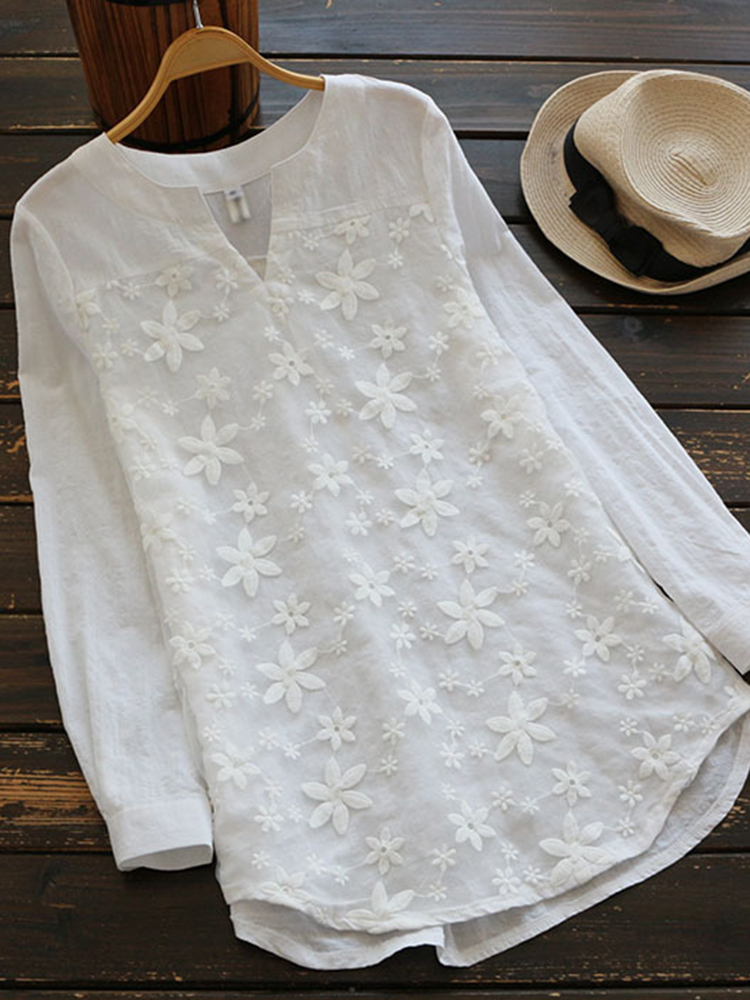 Floral Embroidery V-neck Long Sleeve Vintage Blouse