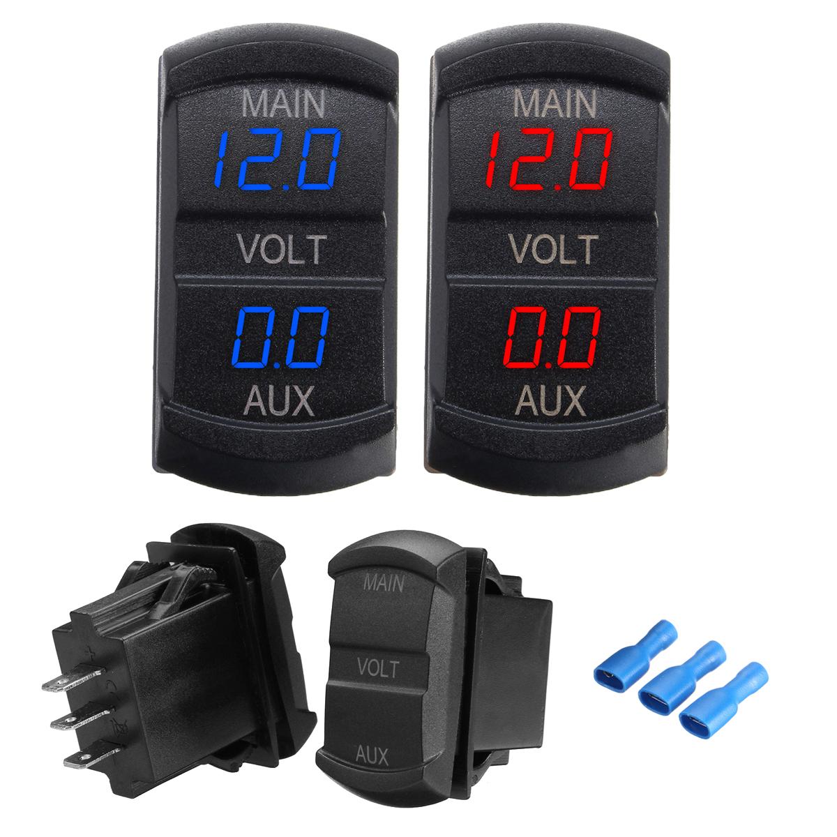 10-60V LED Dual Voltmeter Voltage Gauge Digital P
