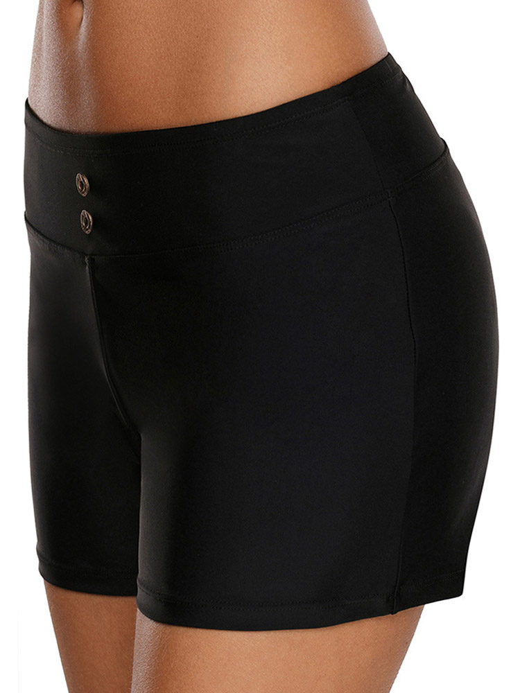 3XL Black High Waist Swimming Trunks For Women By Bangg