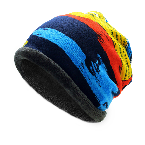 Mens Womens Winter Plus Cashmere Stripe Beanie Scarf Ou