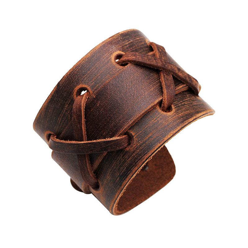 Punk Weaving Adjustable Men Bracelets Leather Wristband
