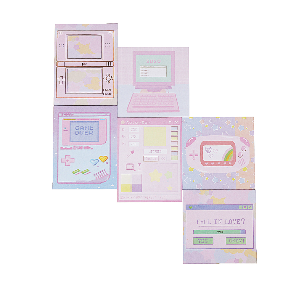 6 Pcs/pack Colorful Sticky Notes Cartoon Love Gam