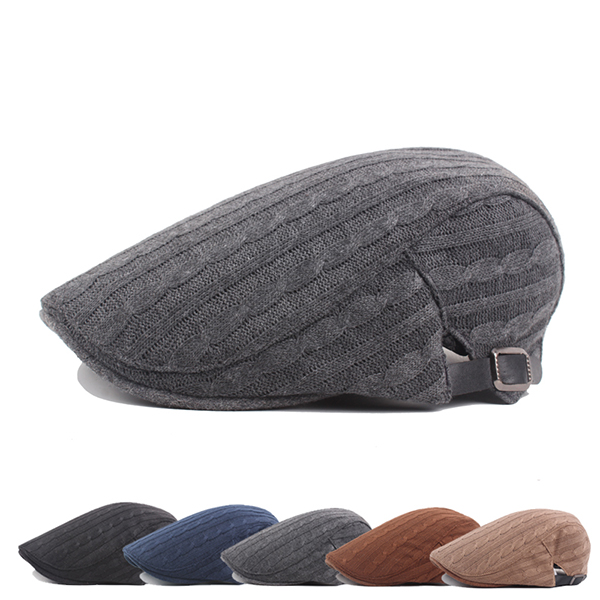 Mens Cotton Knitted Warm Beret Cap Buckle Adjustable Go