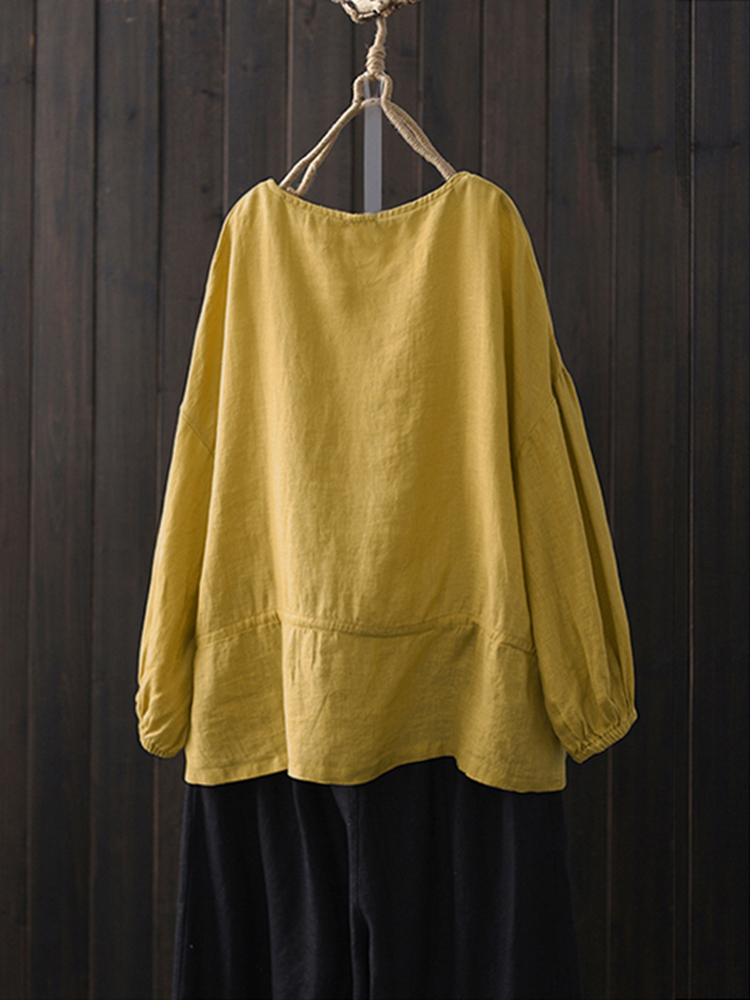 Women Loose Cotton Solid Color Round Neck Long Sleeve T