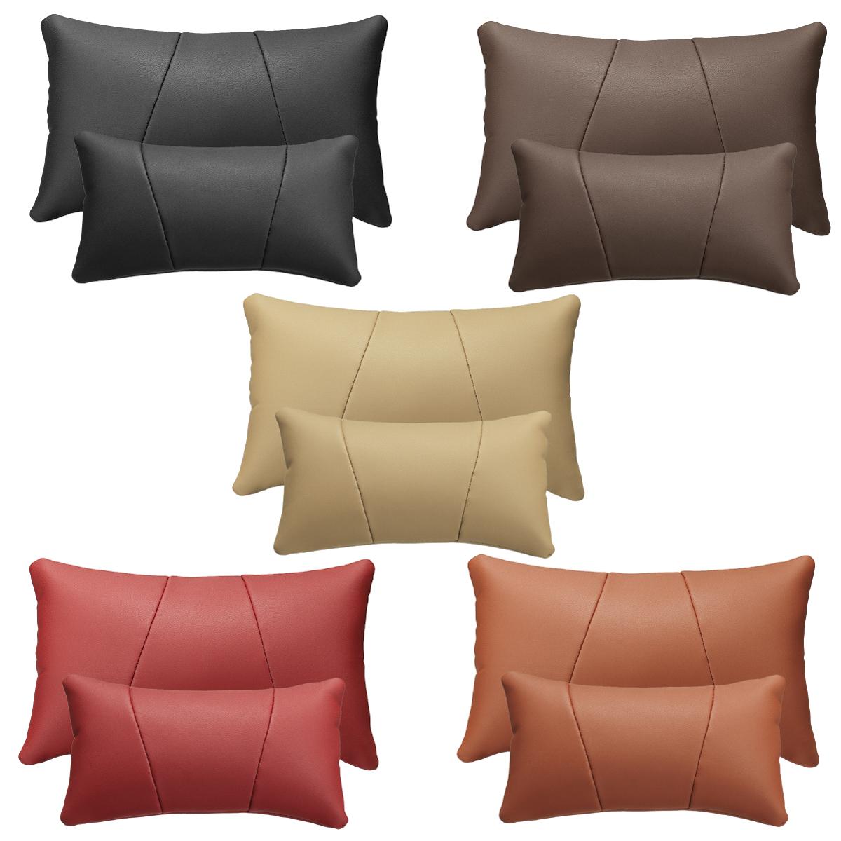 Car Headrest Lumbar Waist Seat Pillow PU Leather