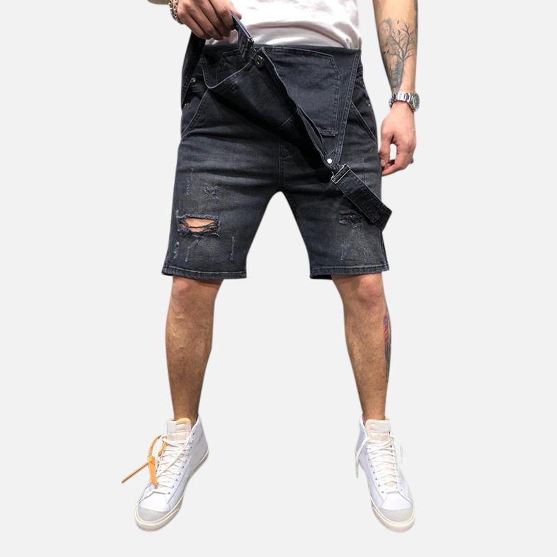 Men Denim Slim Fit Short Jumpsuit