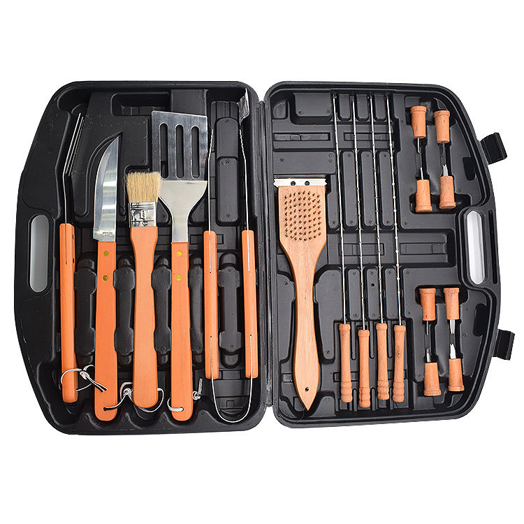 18 PCS Stainless-Steel Barbecue Set with Storage Case BBQ Grill Tool Accessories Kit For Camping Cookware Outdoor Activity