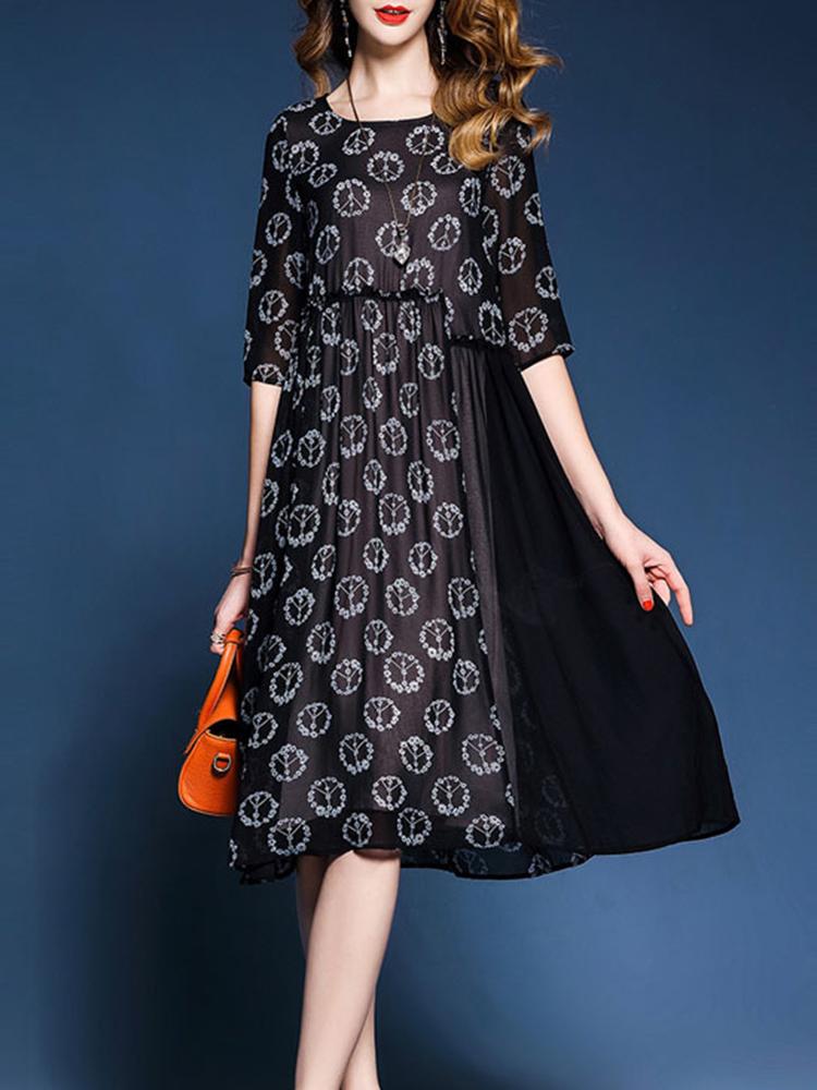 Casual Women Floral Printed Patchwork O-Neck Chiffon Black Dress
