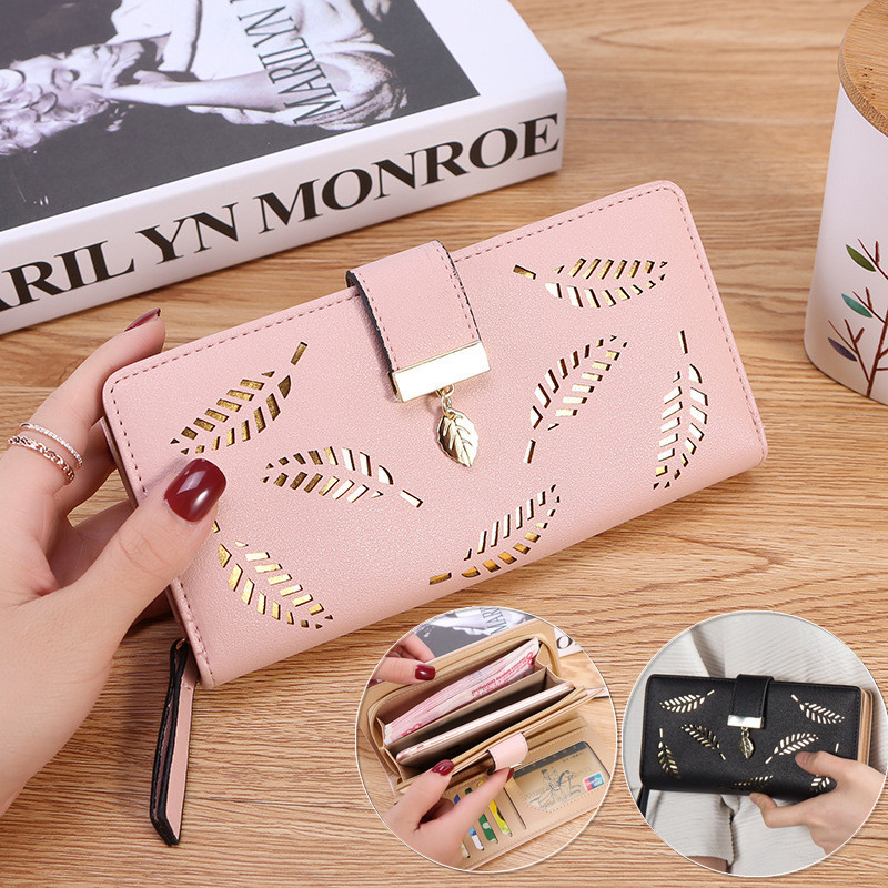 Women PU Leather Large Capacity Zipper Pouch Card