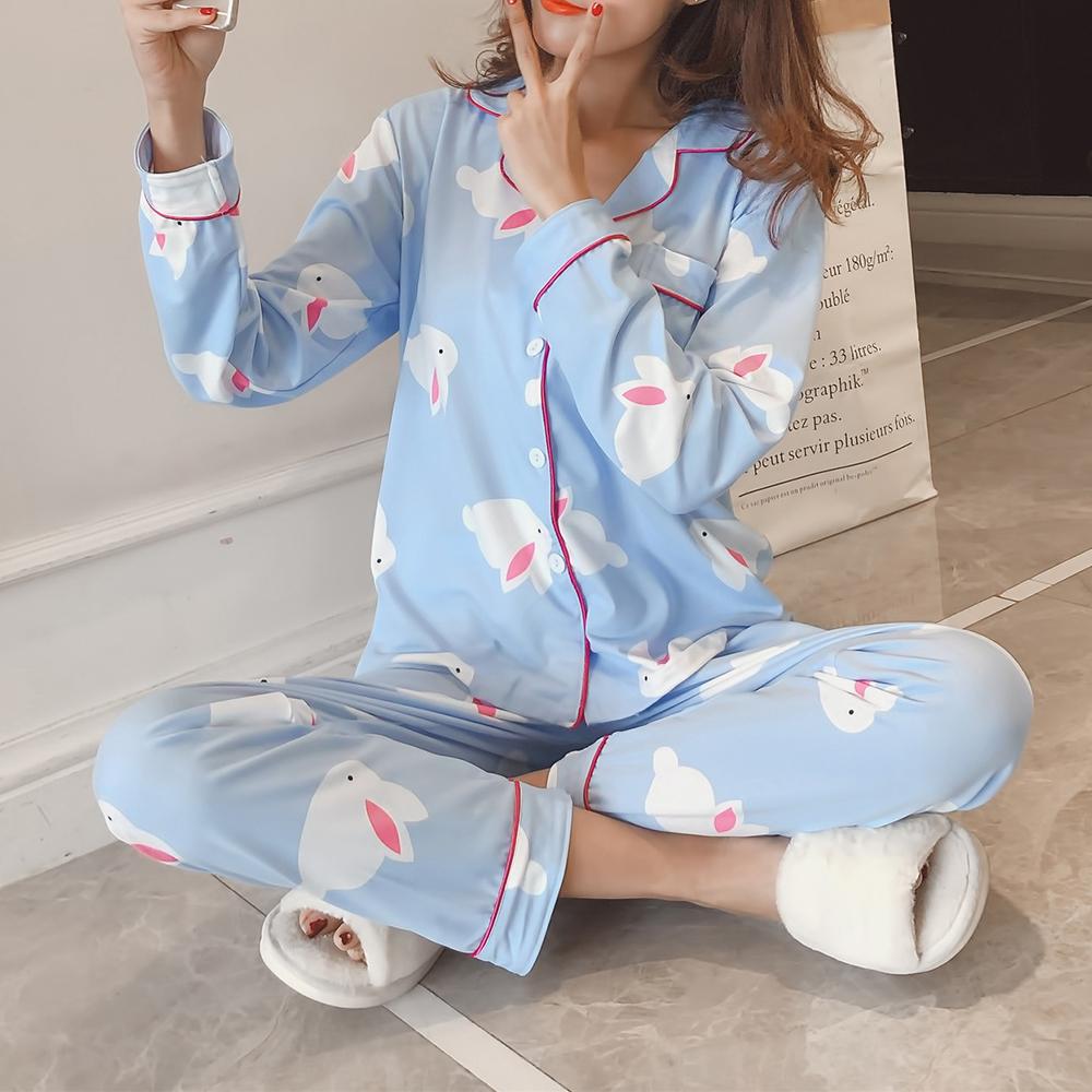 2Pcs Cartoon Printed Long Sleeve Lapel Button Silk Pajama Sets Sleepwear