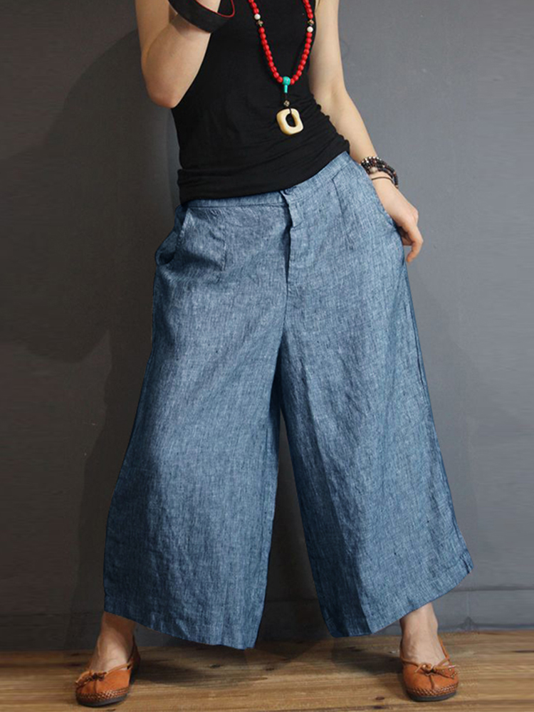 S-5XL Women Casual Loose Mid Rise Wide Leg Pants with P