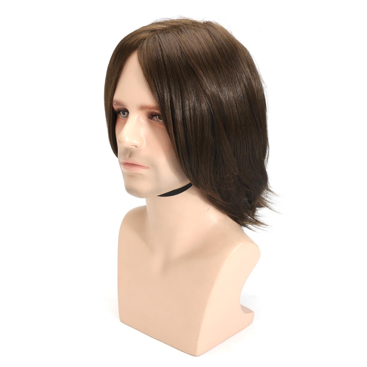 Men Brown Hair Wig Cosplay Natural Net Cap Medium