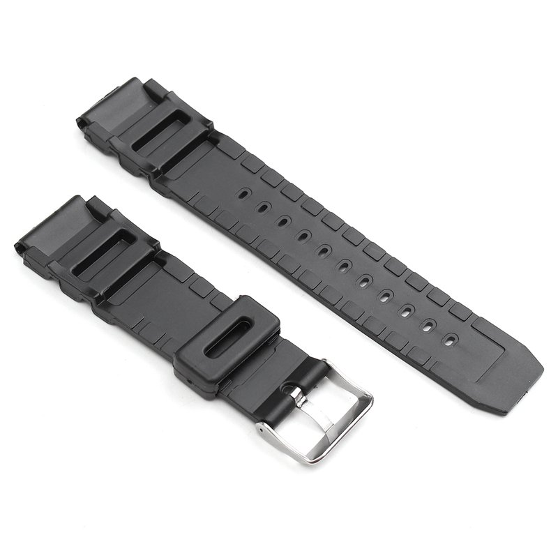 22mm Black Rubber Replacement Band Strap With Batch For