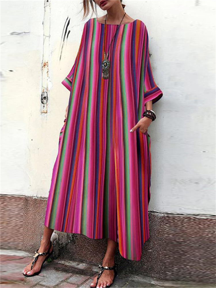 Plus Size Casual Stripe Round Neck Maxi Dress with Pock