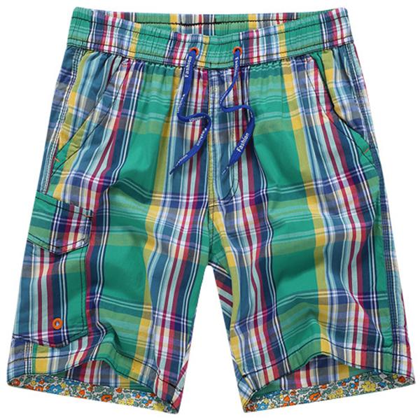 Summer Men's Seaside Vacation Beach Shorts Pants Casual Quick Dry Cotton Plaid Shorts