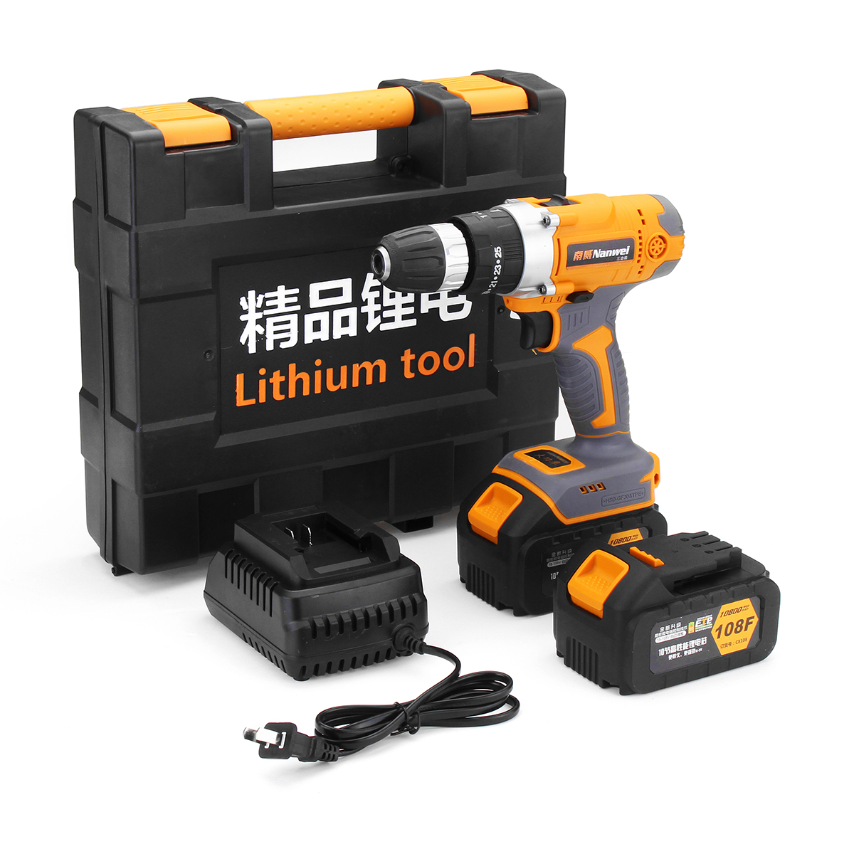 108V 10800mAh Electric Impact Drill Cordless Rechargeable Screwdriver Drills Set with Li-ion Battery