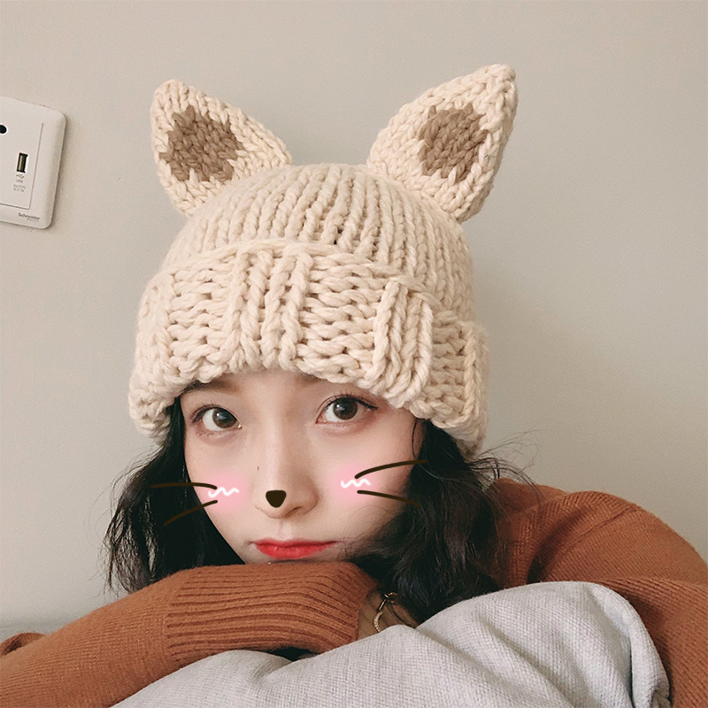 Female Thickened Hand-Knitted Rabbit Ears Hat Winter Christmas Cute Warm Beanie Cap