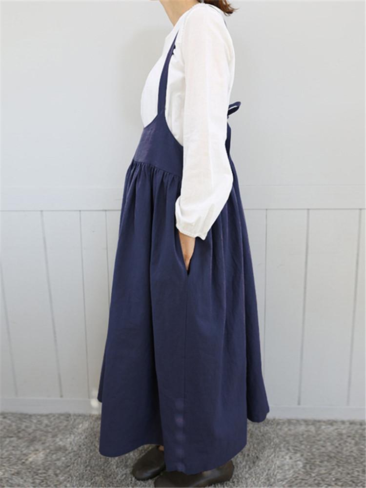Women Cotton Spaghetti Straps Solid Color Maxi Dress