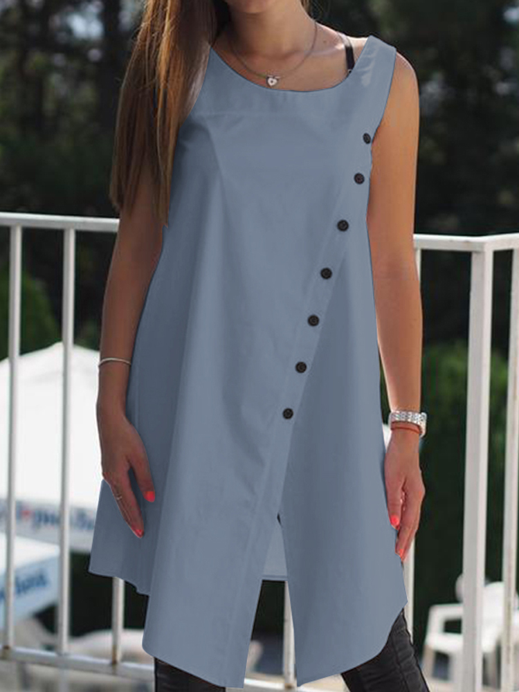 Women Casual Solid Buttons Sleeveless Loose Asymmetric