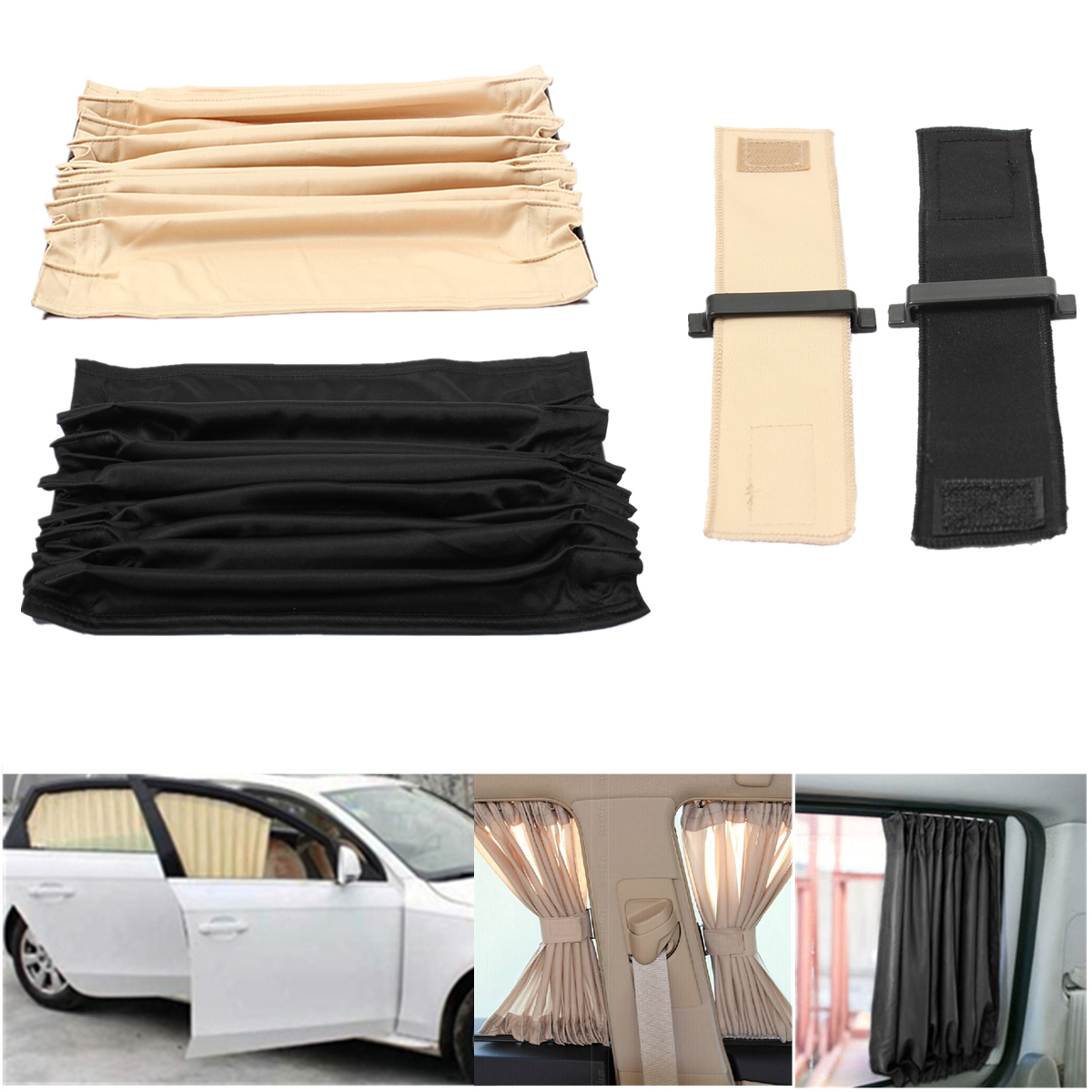 2pcs 70cm Mesh L Car Window Sunshade Curtain Auto