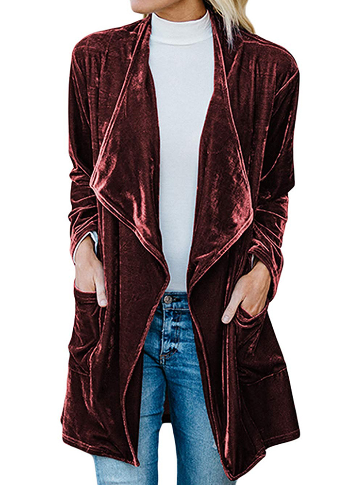 Casual Women Solid Color Lapel Velvet Cardigans with Pockets
