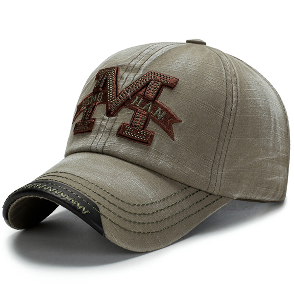 Men Washed Cotton M Embroidery Baseball Cap Outdoor Sun