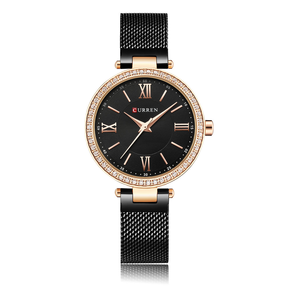 CURREN 9011 Crystal Simple Designed Women Watches Mesh