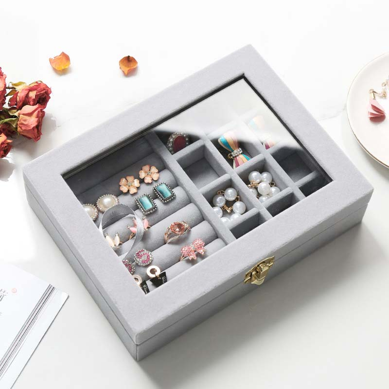 5 Colors Dual-Lock Ring Earring Jewelry Box Flannel Mat