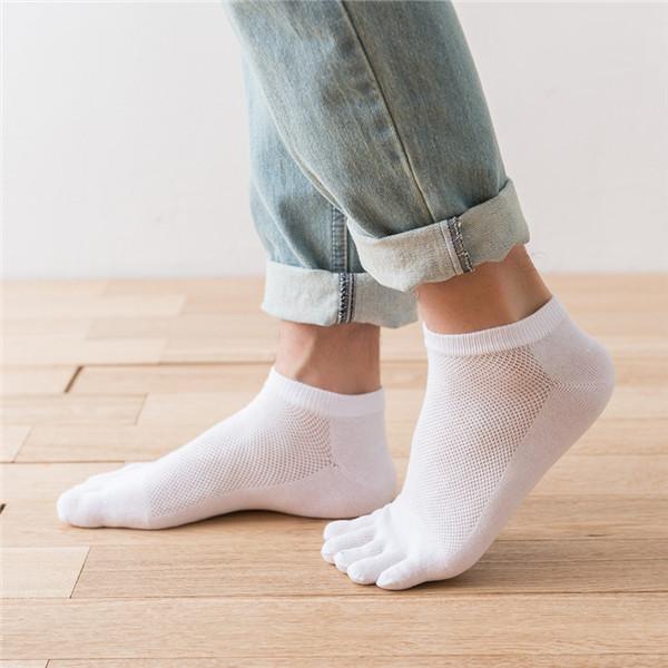 Mens Cotton Mesh Breathable Invisible Toe Socks Soft Lo