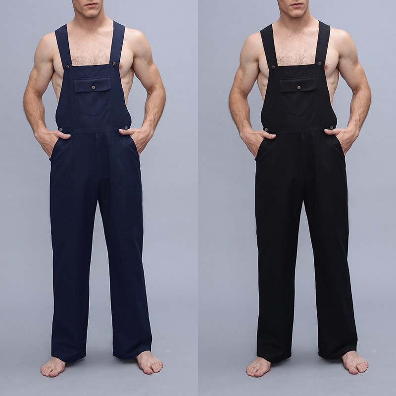 Mens Solid Color Strap Pants Overalls Bib Trousers