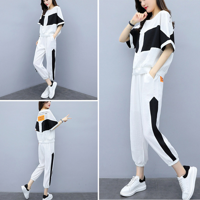 European Station Sports And Leisure Suit Female Fashion Trend New Loose Foreign Short Sleeve Two-piece